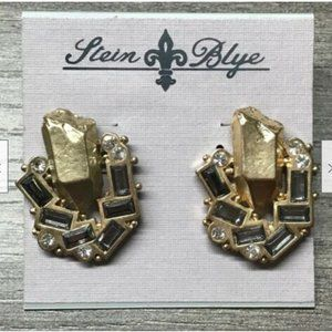 Stein & Blye Gold Nugget Crystal Gold Earrings